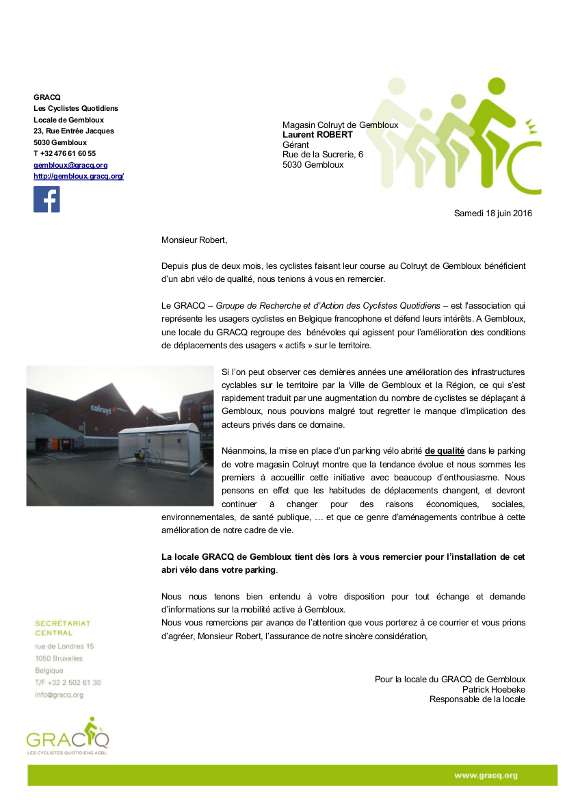 Courrier Colruyt Parking Velo GRACQ Gembloux